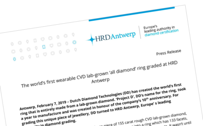 Press release: the worlds first wearable cvd lab-grown all diamond ring, graded at HRD Antwerp